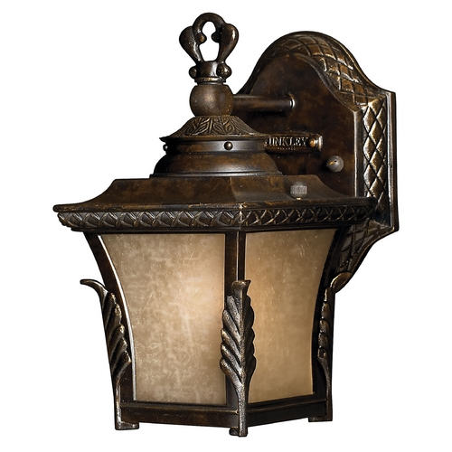 Hinkley Lighting LED Outdoor Wall Light with Amber Glass in Regency Bronze Finish 1936RB-LED