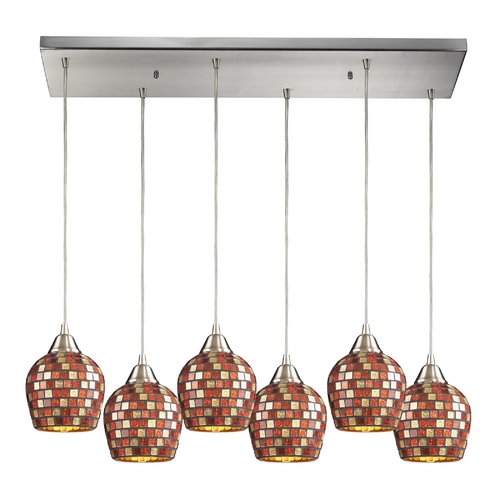 Elk Lighting Modern Multi-Light Pendant Light with Multi-Color Glass and 6-Lights 528-6RC-MLT