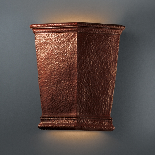 Justice Design Group Outdoor Wall Light in Hammered Copper Finish CER-1415W-HMCP