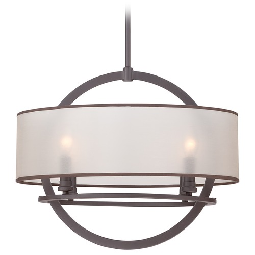 Quoizel Lighting Quoizel Portland Western Bronze Pendant Light with Drum Shade PTD2820WT