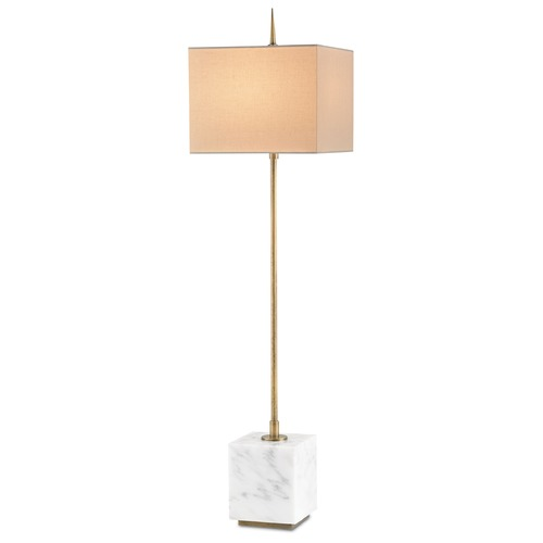 Currey and Company Lighting Currey and Company Lighting Thompson Brass / White Console & Buffet Lamp with Square Shade 6975