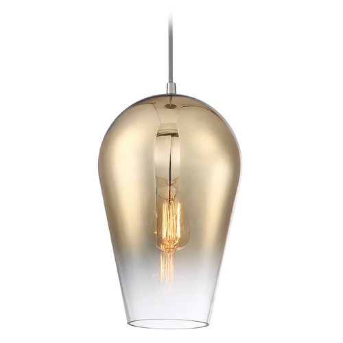 Craftmade Lighting Craftmade Brushed Polished Nickel Pendant with Gold to Clear Gradient Shade P860BNK1