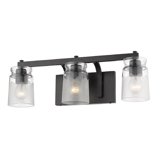 Golden Lighting Golden Lighting Travers Black Bathroom Light 1405-BA3BLK-CAG