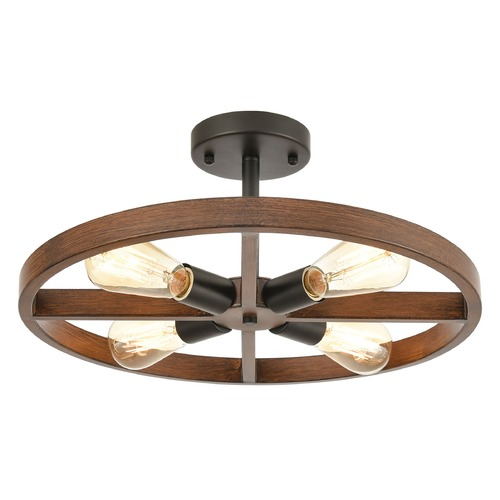 Elk Lighting Elk Lighting Wheeling Matte Black, Dark Oak Semi-Flushmount Light 18384/4