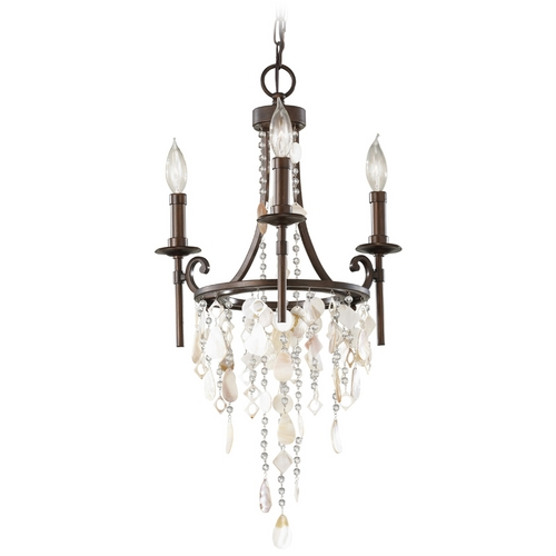 Feiss Lighting Vintage Inspired Mini-Chandelier Light with Cascading Crystal Beading F2662/3HTBZ
