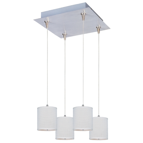 ET2 Lighting Modern Low Voltage Multi-Light Pendant Light with White Shades and 4-Lights E95495-100SN