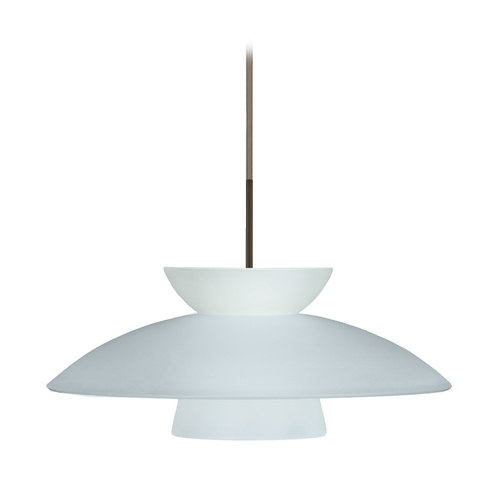 Besa Lighting Modern Pendant Light with White Glass in Bronze Finish 1JT-451325-BR