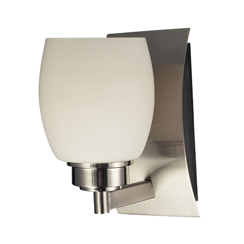 Elk Lighting Modern Sconce with White Glass in Satin Nickel Finish 17100/1