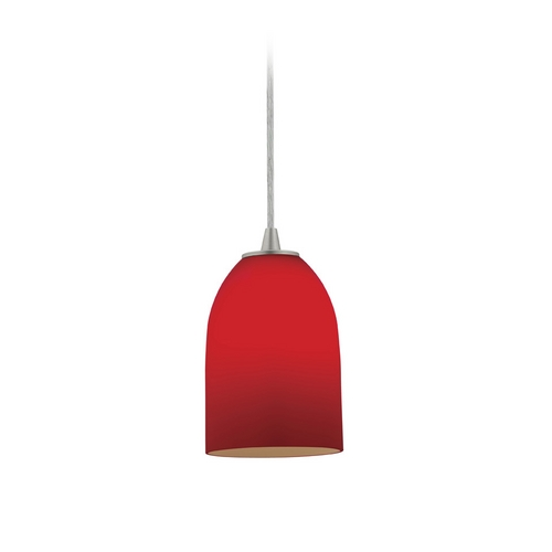 Access Lighting Modern Mini-Pendant Light with Red Glass 28018-2C-BS/RED