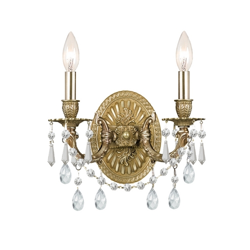 Crystorama Lighting Crystal Sconce Wall Light in Aged Brass Finish 5522-AG-CL-S