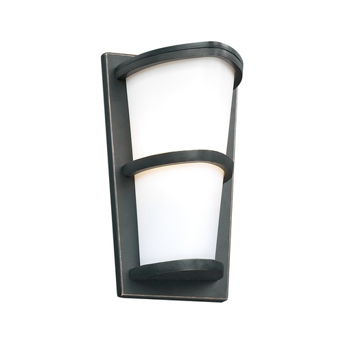 PLC Lighting Modern Outdoor Wall Light with White Glass in Oil Rubbed Bronze Finish 31912 ORB