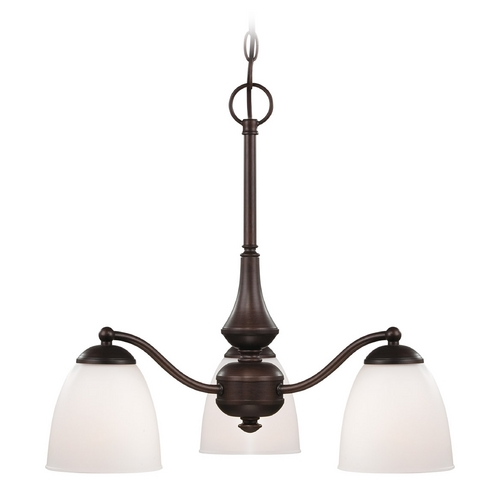 Nuvo Lighting Chandelier with White Glass in Prairie Bronze Finish 60/5142