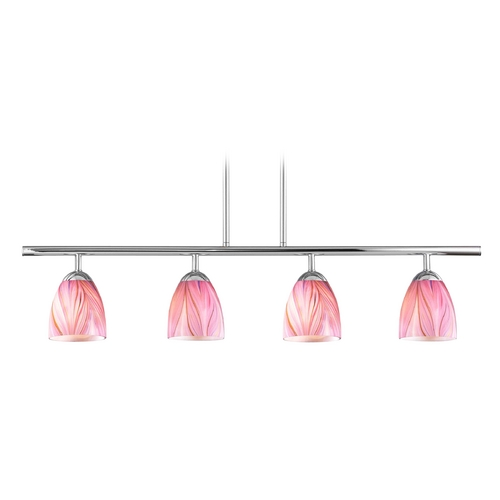 Design Classics Lighting Modern Island Light with Pink Glass in Chrome Finish 718-26 GL1004MB