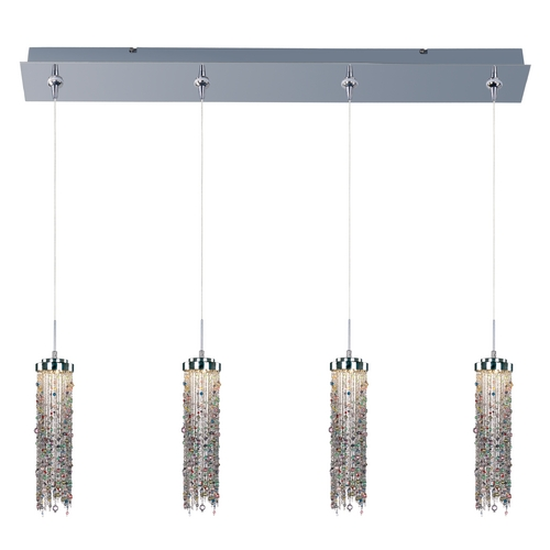 ET2 Lighting Modern LED Multi-Light Pendant Light with Multi-Color Glass and 4-Lights E94989-148PC