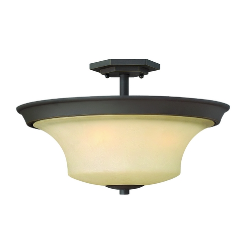 Hinkley Lighting Semi-Flushmount Light with Amber Glass in Oil Rubbed Bronze Finish 4632OZ