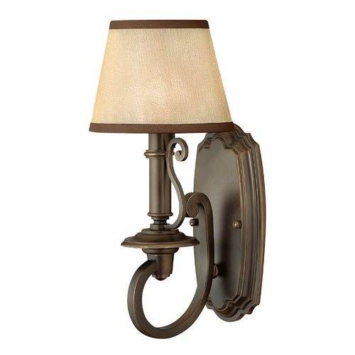 Hinkley Lighting Sconce Wall Light with Amber Shade in Olde Bronze Finish 4240OB