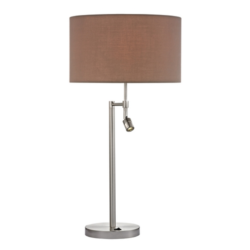 Dimond Lighting Modern LED Swing Arm Lamp with Taupe Shades in Satin Nickel Finish D2551-LED