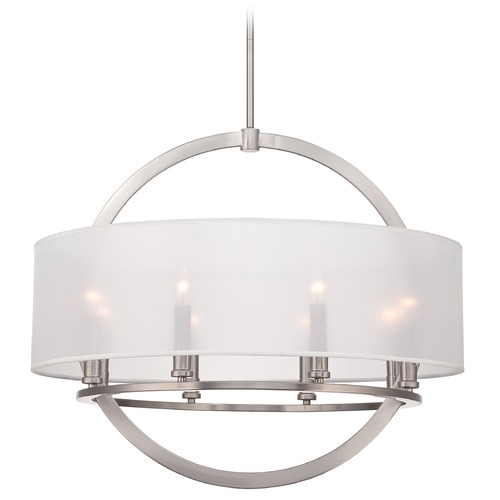 Quoizel Lighting Quoizel Portland Brushed Nickel Pendant Light with Drum Shade PTD2826BN