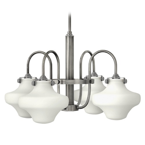 Hinkley Lighting Hinkley Congress 4-Light Chandelier with White Urn Glass in Antique Nickel 3045AN