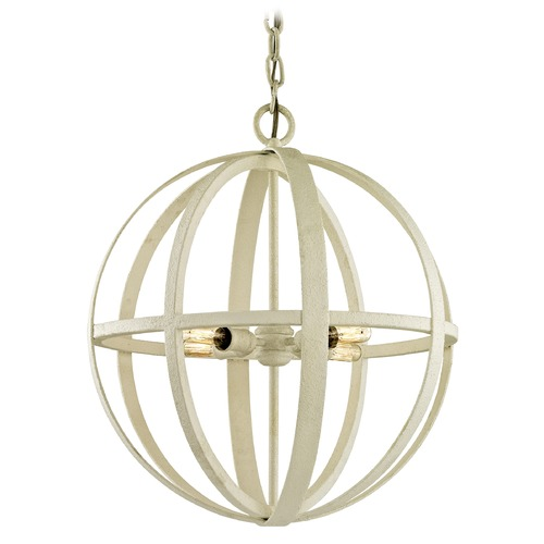 Troy Lighting Troy Lighting Flatiron Gesso White Pendant Light with Globe Shade F6554