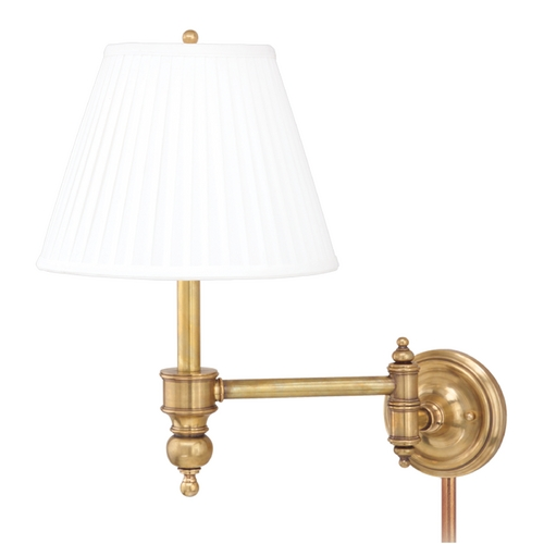 Hudson Valley Lighting Swing Arm Lamp with White Shade in Aged Brass Finish 6331-AGB
