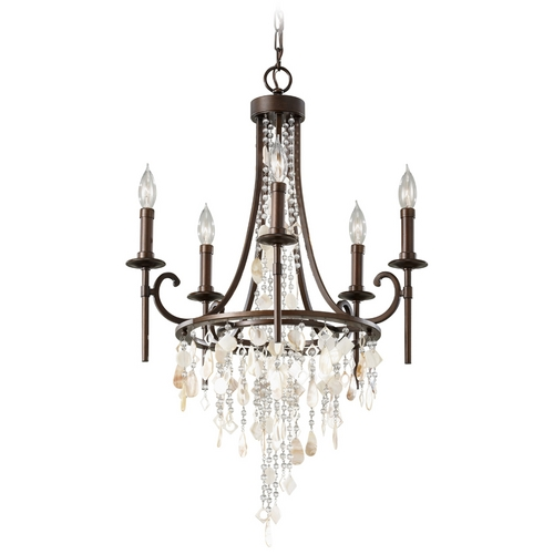 Feiss Lighting Crystal Vintage Style Bronze Chandelier Light F2663/5HTBZ