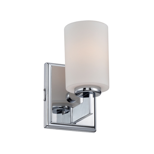 Quoizel Lighting Modern Sconce with White Glass in Polished Chrome Finish TY8601C