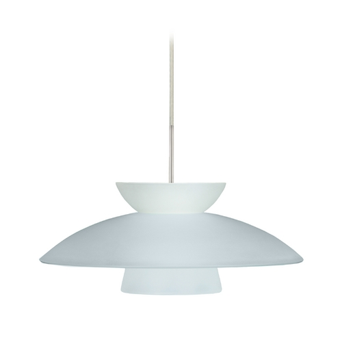 Besa Lighting Modern Pendant Light with White Glass in Satin Nickel Finish 1JT-451325-SN