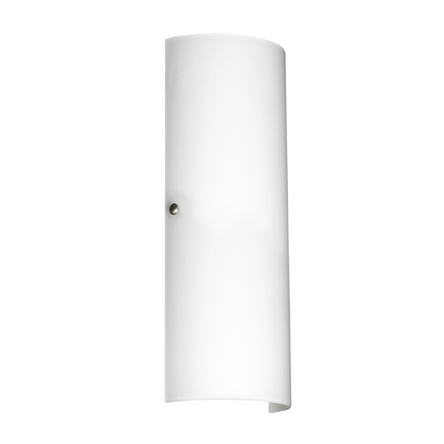 Besa Lighting Sconce Wall Light White Glass Satin Nickel by Besa Lighting 819307-SN