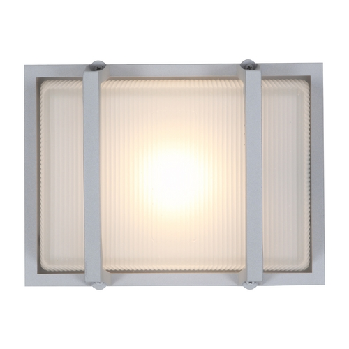 Access Lighting Outdoor Wall Light with White Glass in Satin Nickel Finish 20335MG-SAT/RFR