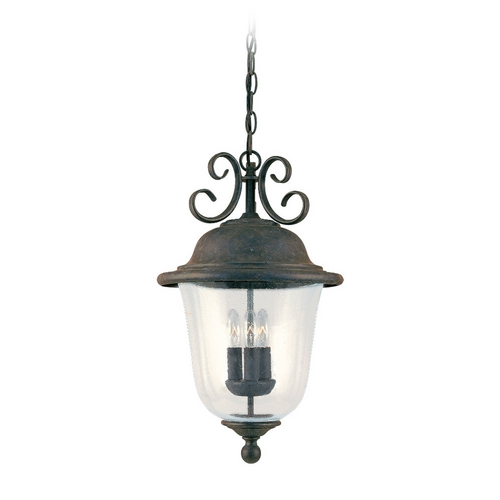 Sea Gull Lighting Outdoor Hanging Light with Clear Glass in Oxidized Bronze Finish 6059-46