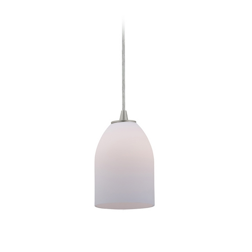 Access Lighting Modern Mini-Pendant Light with White Glass 28018-2C-BS/OPL