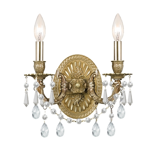 Crystorama Lighting Crystal Sconce Wall Light in Aged Brass Finish 5522-AG-CL-SAQ