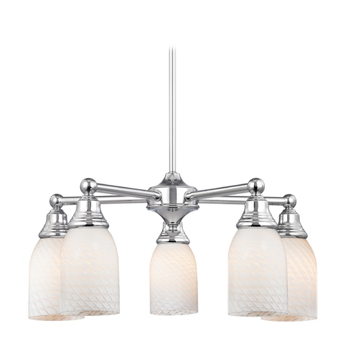 Design Classics Lighting Chandelier with White Glass in Polished Chrome Finish 597-26 GL1020D