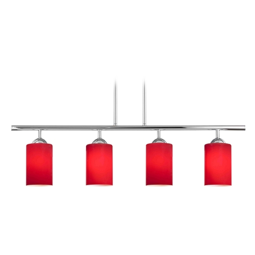 Design Classics Lighting Modern Island Light with Red Glass in Chrome Finish 718-26 GL1008C