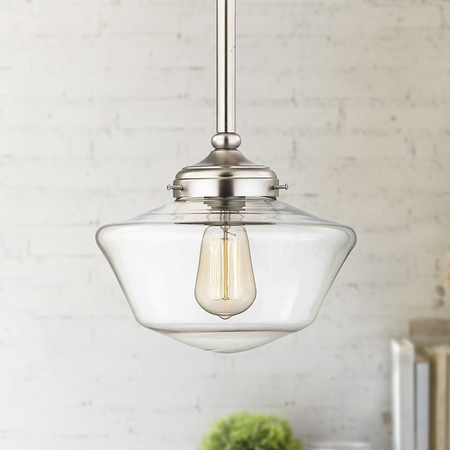 Design Classics Lighting 10-Inch Satin Nickel Clear Glass Schoolhouse Mini-Pendant Light FA4-09 / GA10-CL