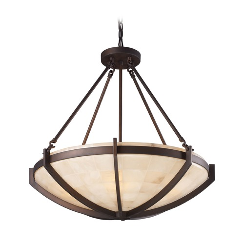 Elk Lighting Elk Lighting Spanish Mosaic Aged Bronze LED Pendant Light with Bowl / Dome Shade 19003/6-LED