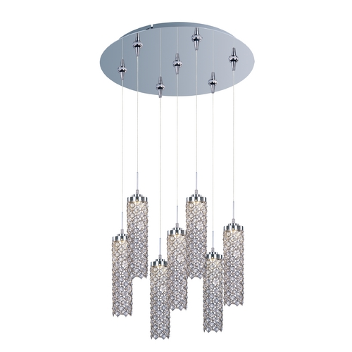 ET2 Lighting Modern LED Multi-Light Pendant Light with Clear Glass and 7-Lights E95187-20PC