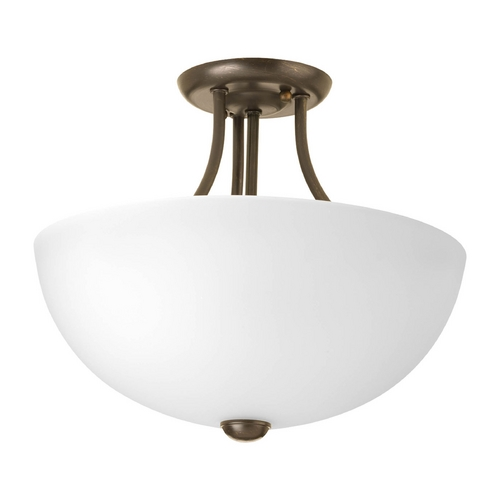 Progress Lighting Modern Pendant Light with White Glass in Antique Bronze Finish P3426-20WB