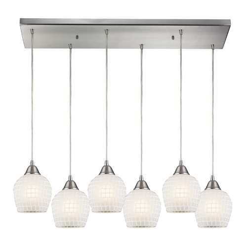 Elk Lighting Modern Multi-Light Pendant Light with White Glass and 6-Lights 528-6RC-WHT