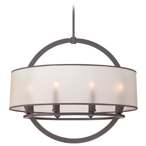 Quoizel Lighting Quoizel Portland Western Bronze Pendant Light with Drum Shade PTD2826WT