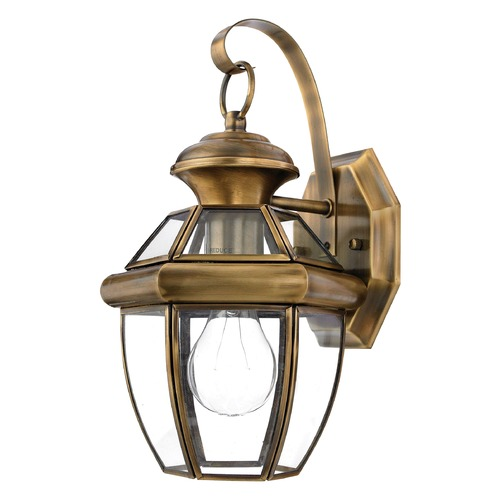 Quoizel Lighting Quoizel Newbury Antique Brass Outdoor Wall Light NY8315AFL