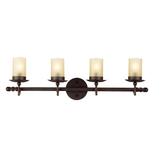 Sea Gull Lighting Champagne Seeded Glass Bathroom Light Bronze Sea Gull Lighting 4410604-191