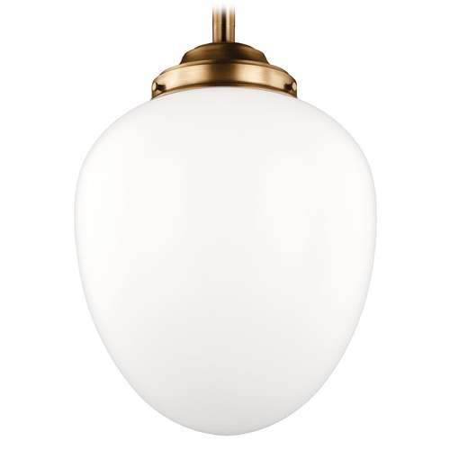 Feiss Lighting Feiss Alcott Aged Brass LED Pendant Light with Oval Shade P1402AGB-LED