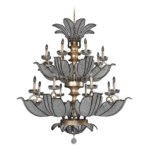 Allegri Lighting Allegri Tiepolo 2-Tier 16-Light Chandelier in Silver LeAF Sienna Bronze 11259-028-FR001