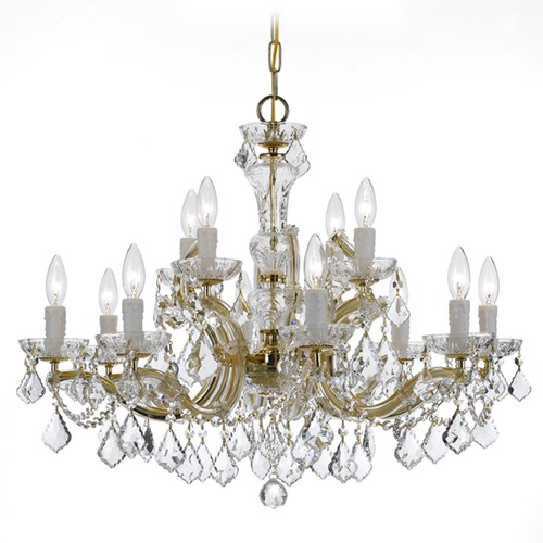 Crystorama Lighting Crystorama Maria Theresa 2-Tier 12-Light Crystal Chandelier in Gold 4479-GD-CL-SAQ
