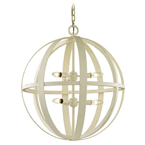 Troy Lighting Troy Lighting Flatiron Gesso White Pendant Light with Globe Shade F6556