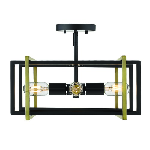 Golden Lighting Golden Lighting Tribeca Black Semi-Flushmount Light 6070-SFBLK-AB