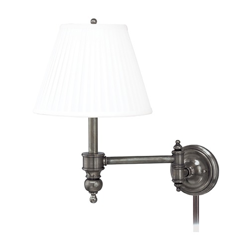 Hudson Valley Lighting Swing Arm Lamp with White Shade in Antique Nickel Finish 6331-AN