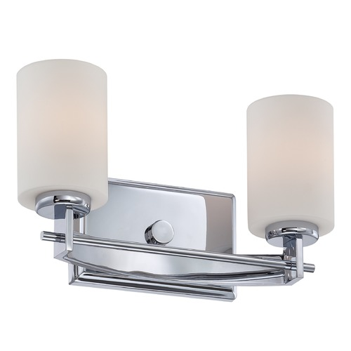 Quoizel Lighting Modern Bathroom Light with White Glass in Polished Chrome Finish TY8602C